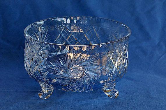 Lead Crystal Pinwheel Footed Fruit Bowl