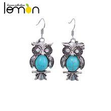 Rétro Vintage bohème ethnique boucles d'oreilles femmes mode bijoux Owl Dangle boucles d'oreilles Turquoise boucles d'oreilles crochet Drop NMSY-107(China (Mainland))