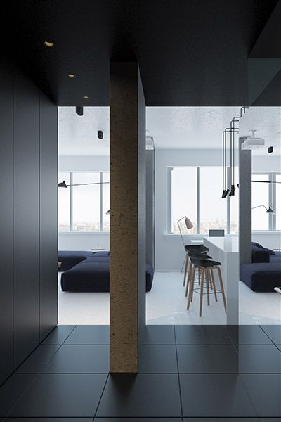 Hallway Design Idea Separating The Modern Living Room And Small Bedroom In  A Minimalist Apartment