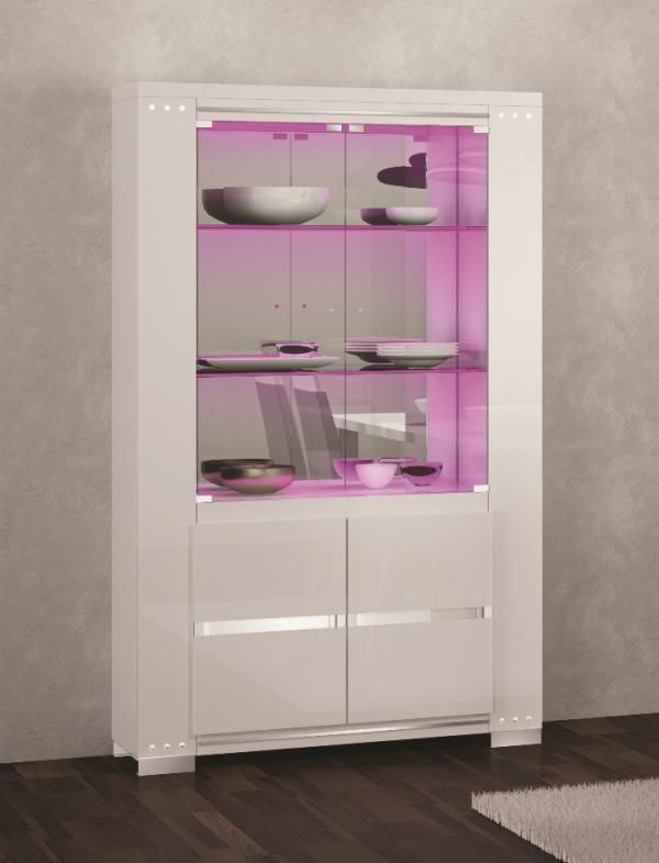 Elegance Diamond White High Gloss Cabinet With Swarovski Crystal Detail And Opt Led Lighting Gloss Cabinets Glass Cabinets Display Cabinet