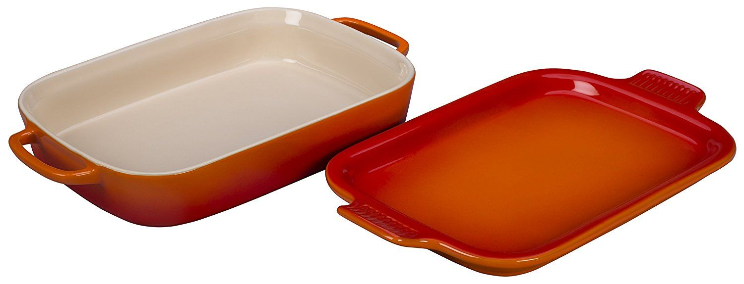 Le Creuset Stoneware Rectangular Dish With Platter Lid 14 3 4 X 9 X 2 1 2 Flame Check Out This Great Product Le Creuset Stoneware Platters Stoneware Le creuset rectangular baking dish