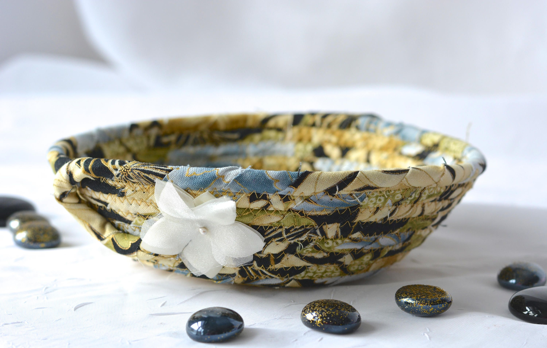 Gold Ring Holder, Handmade Golden Fabric Bowl, Beautiful Key Bowl, Small  Fabric Candy