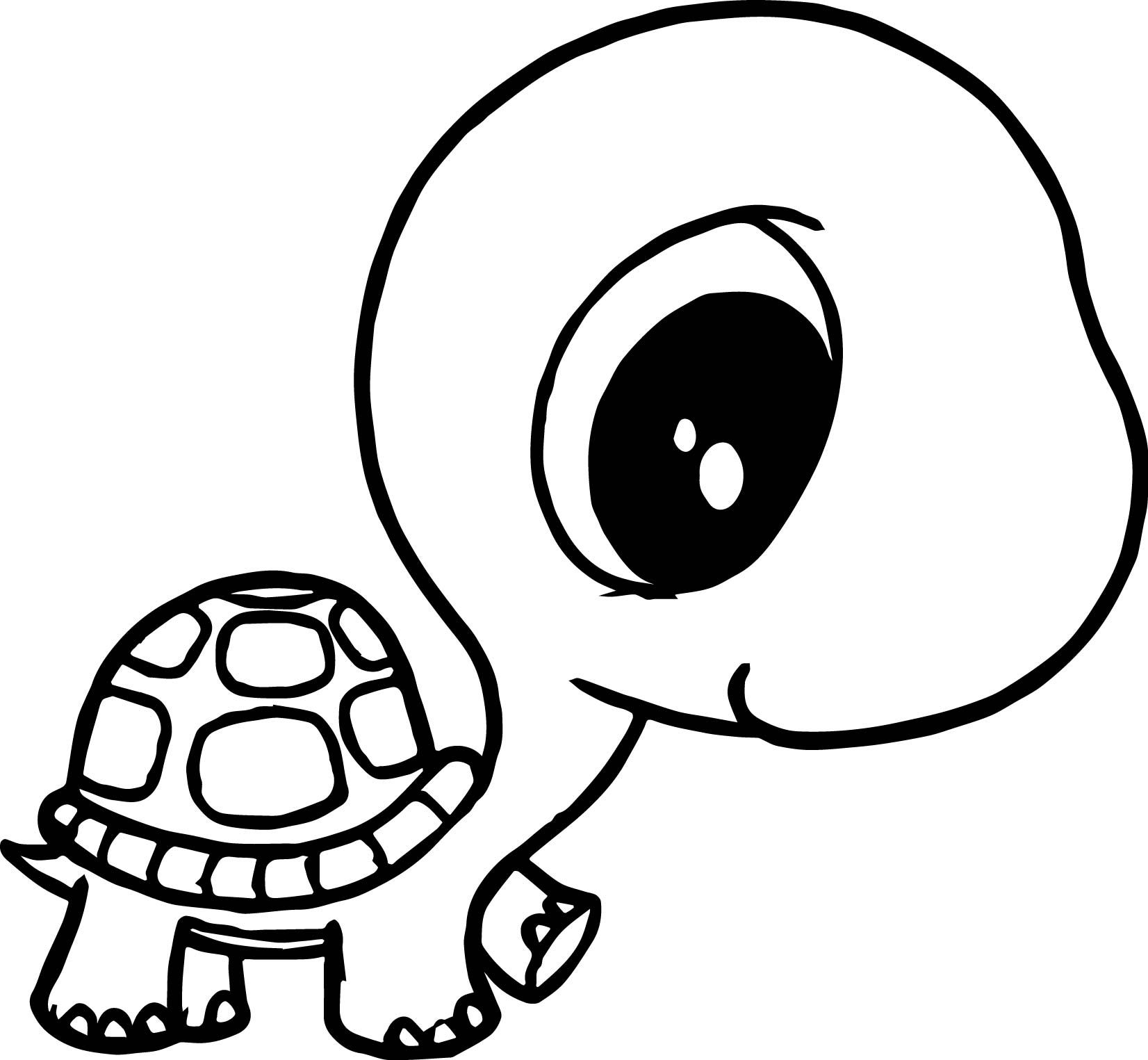 nice Big Head Small Body Tortoise Turtle Coloring Page