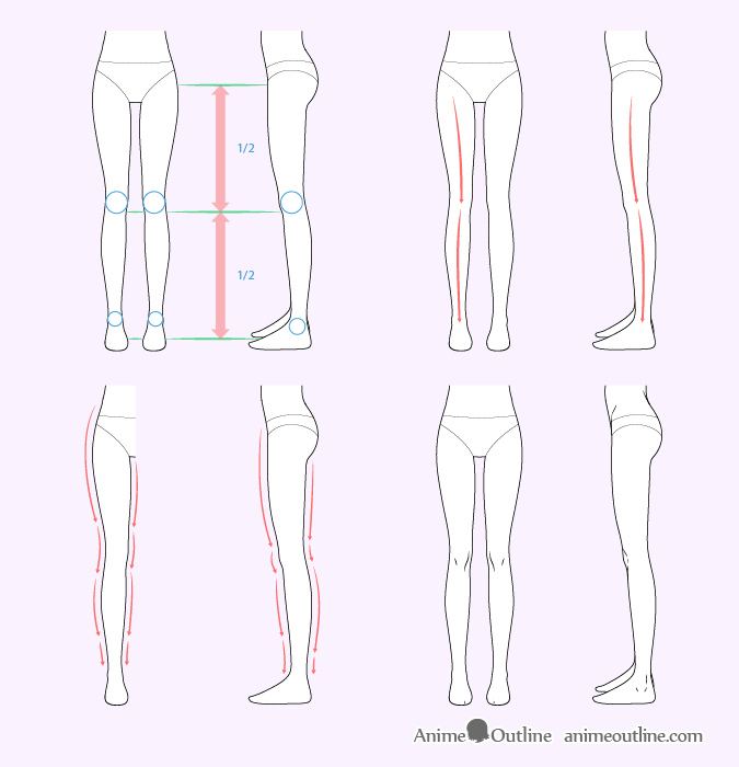 How To Draw Female Anime Legs Tutorial Drawing Legs Leg Reference Female Anime