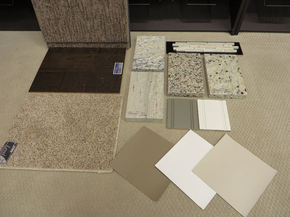 Benedettini Cabinets In Glacier With Putty Glaze And Highland Gray (center  Samples) Media Carpet