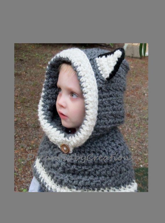 Wolf/ Husky/ Cat Hoodie / Scoodie, Crochet Animal Hooded Cowl ...