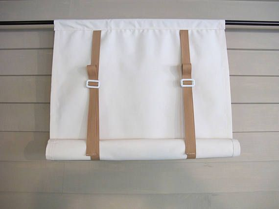 Off White Canvas Swedish Blind Roll Up Shade With White
