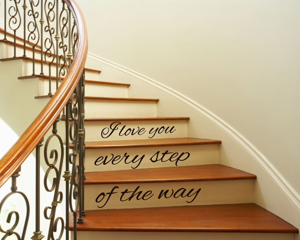 Wall Vinyl Decal Sticker Quote I Love You Staircase Stairway Stairs Decor  Kk107