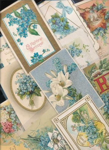 15 Victorian Forget Me Nots Blue Flowers Greetings Postcards Lot EEE866 | eBay