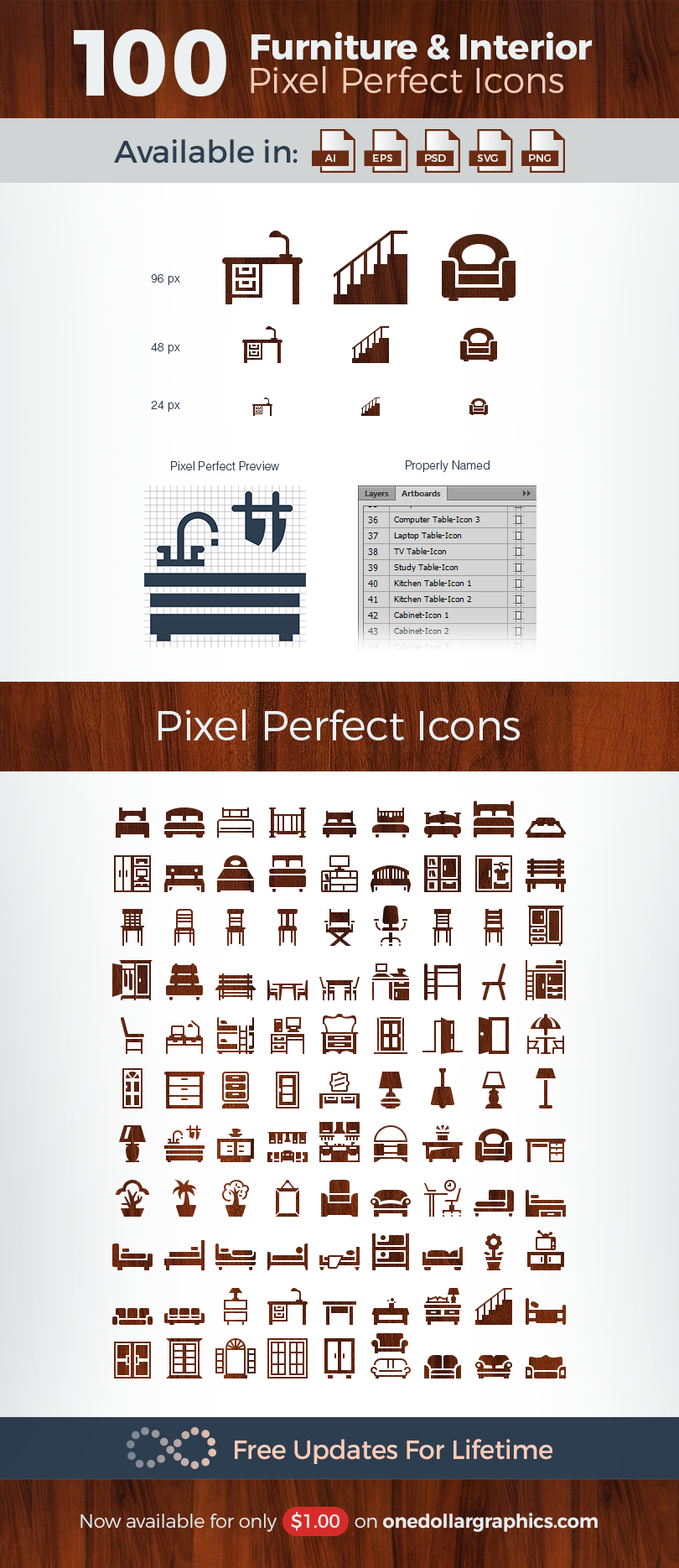 100 Pixel Perfect Furniture Interior Vector Icons Vector Icons Pixel Icon