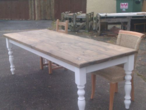Rustic Plank Pine Farmhouse Table 8 Foot By 3 Foot 10 Seater