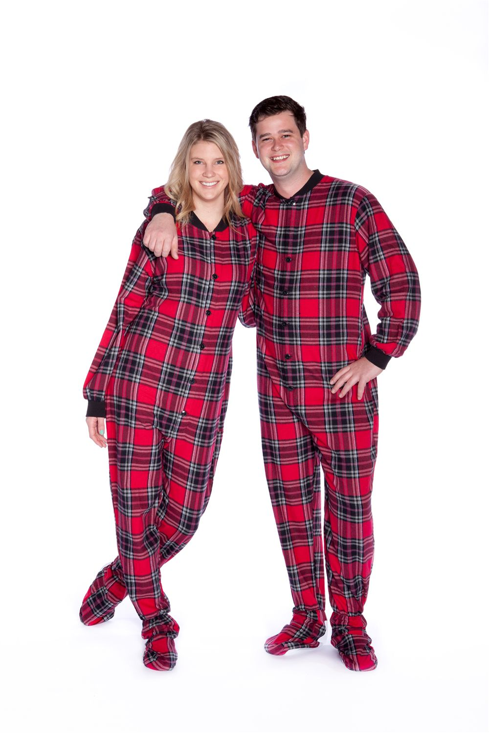 Flannel Adult Footed Pajamas in Red and Black Plaid Onesie
