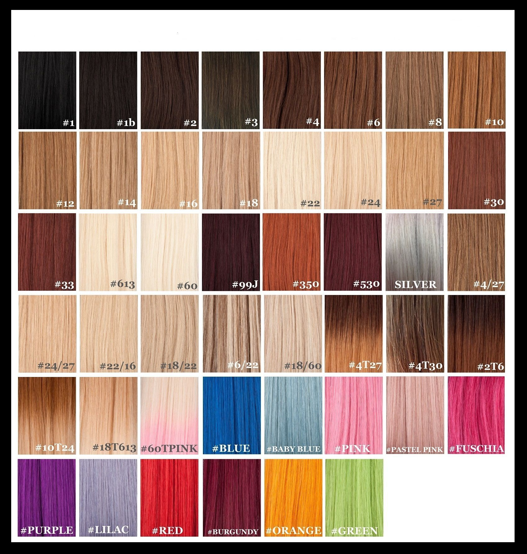 Standard Col Chart Remy Hair Extensions Hair Color Chart Weave Hair Color