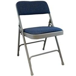 Advantage Grey Padded Metal Folding Chair Navy Blue 1 In Fabric