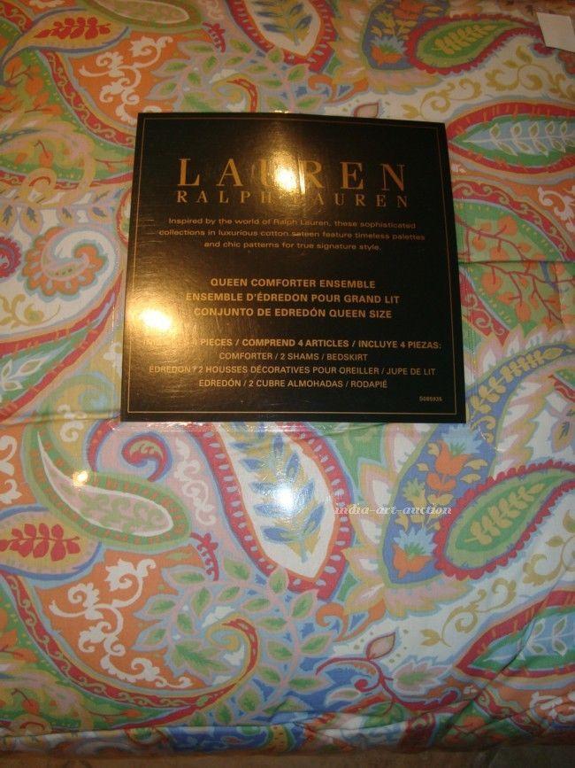 NEW RALPH LAUREN PASTEL GREEN ORANGE BLUE WHITE PAISLEY QUEEN COMFORTER 4 PC SET #RalphLauren