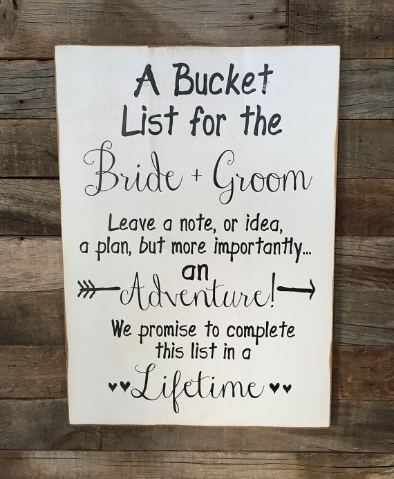 A Bucket List For The BRIDE And GROOM