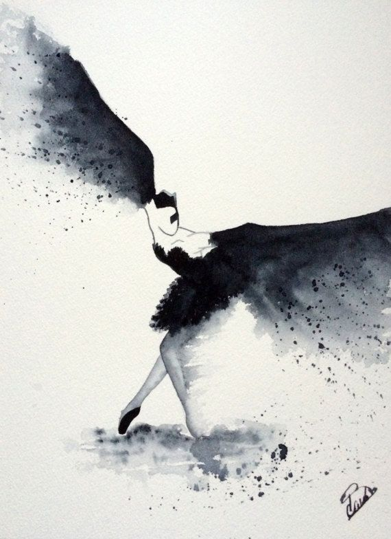 Aquarelle Moderne Black Bird L Envol Cygne Noir Lac Des