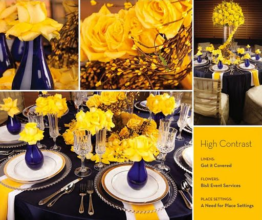 Table Setting With Navy And Yellow Yellow Wedding Decorations