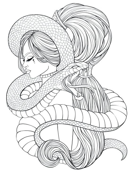 Adult Coloring page with snake and beautiful woman. Pdf