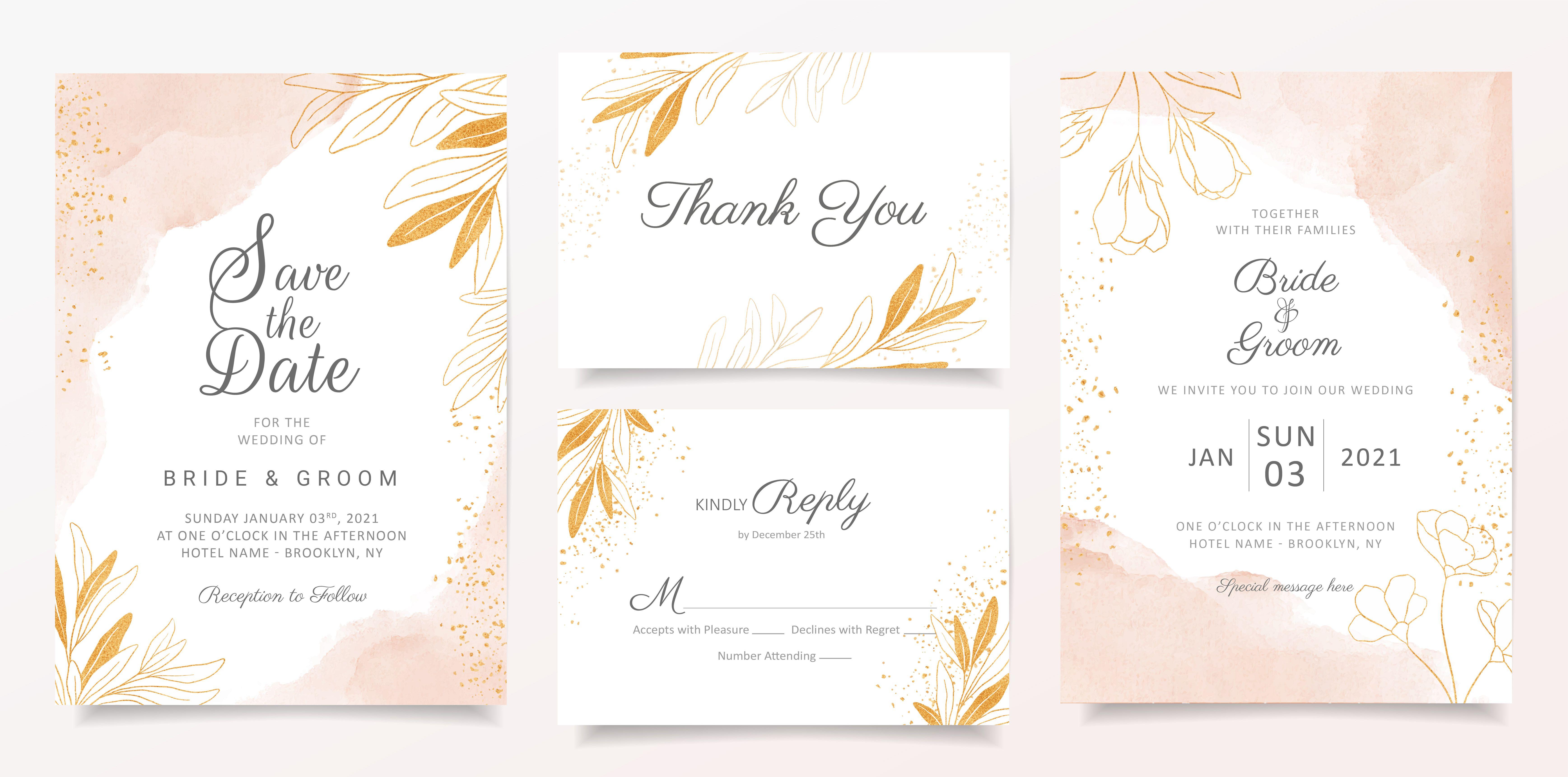 Watercolor Creamy Wedding Invitation Card Template Set With Golden Floral Decor Contoh Undangan Pernikahan Undangan Pernikahan Mewah Desain Undangan Perkawinan