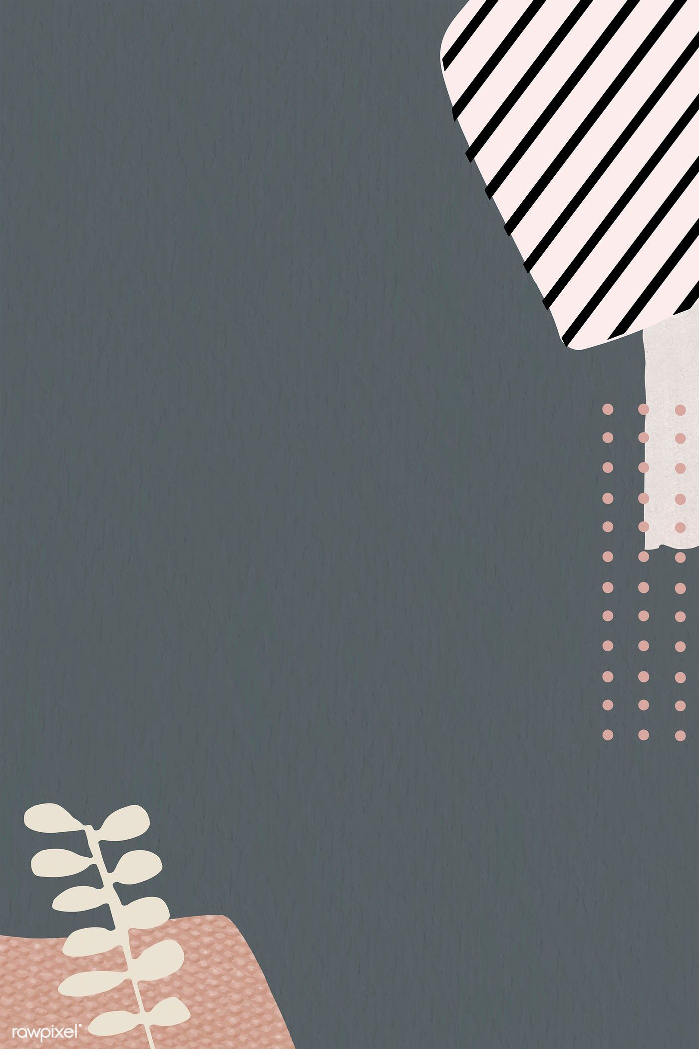 Download premium vector of Leaf pattern on gray background vector 1214264