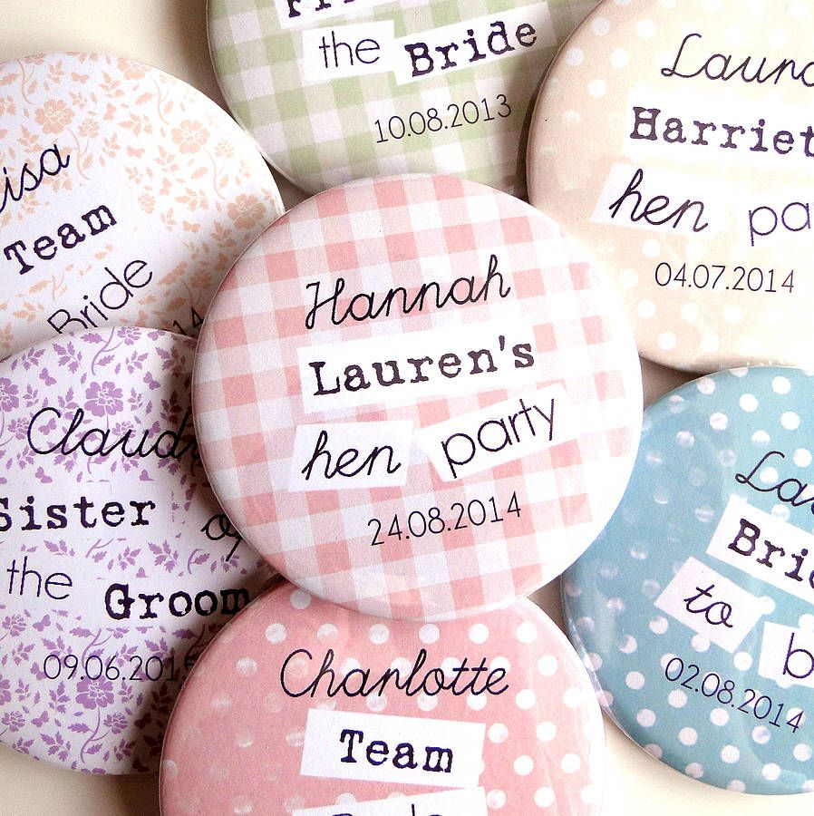 Personalised Heart Hen Do Party Night Badges Mirror gift bride name *5 for 4*