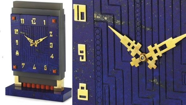 Relógio art déco Boucheron  A lista de matérias usadas inclui ágata, lápis-lazúli, ouro e coral cabochão.