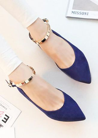 Women NEW Low Ballet Flat Heel Ankle Strap Buckle Causal Comfy Shoes 2  colors. Blue FlatsNavy ...