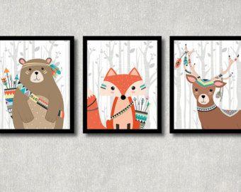 Woodland Wall Decor tribal fox set - woodland nursery decor, printable forest creature
