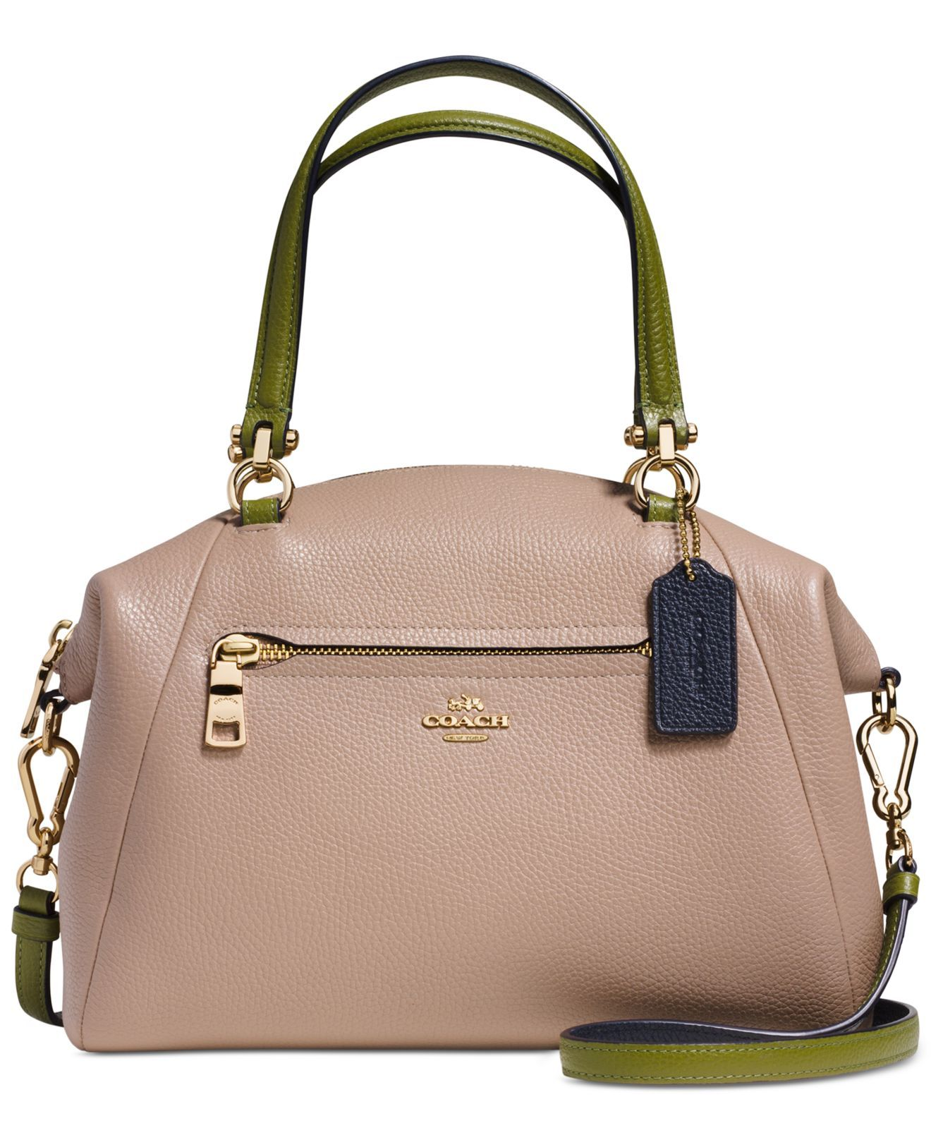f2b2ec128d84 Look at this COACH Prairie satchel! That tan and green colorblocking —  gorge!