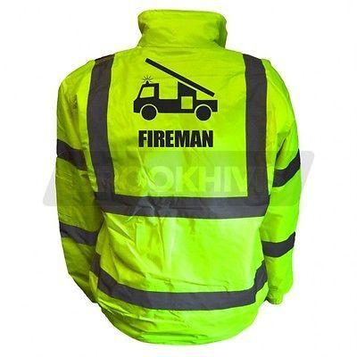 Fireman High Vis Kids Bomber Jacket Hi Vis Viz Personalised Childs Kids Bomber Jacket Fancy Dress Jokes Bomber Jacket