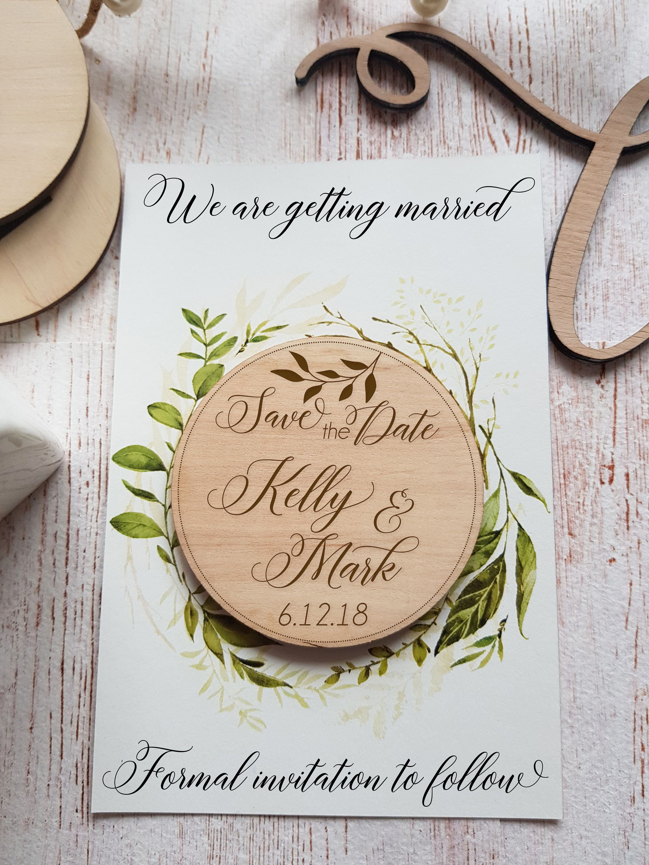 Wedding Invitation Save The Date Magnet Wood Save the Date Custom Save the Date Engraved Save the Date Rustic Rings Save the Date