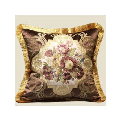 G Home Collection Flower Embellished Pillow Cover Color: Brown/Gold