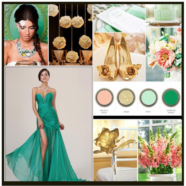 Perfect Peach, Gold, Mint, Emerald Green, Pink