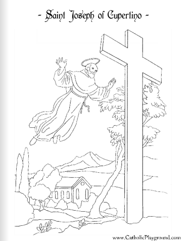 Saint Joseph Of Cupertino Catholic Coloring Page 2 Feast Day Is St Coloring Pages Religious
