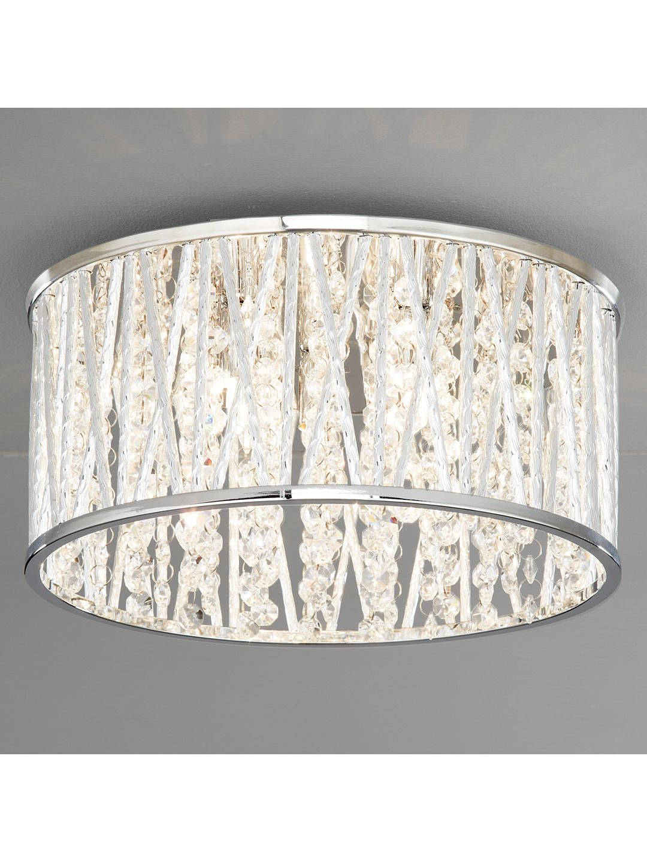 John Lewis Partners Emilia Crystal Drum Flush Ceiling Light