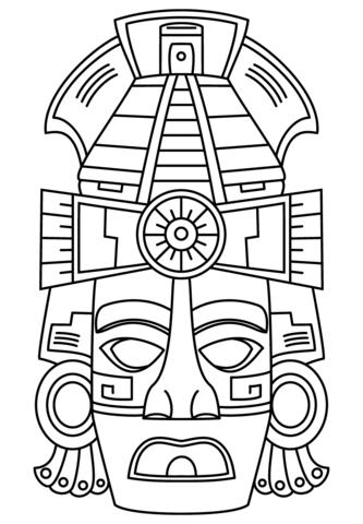 Máscara de Cara Maya Dibujo para colorear | Dibujos colorear ...
