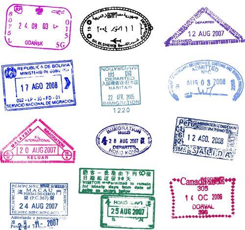 Vector Passport Stamps Design Set 03 Passport Stamps Stamp