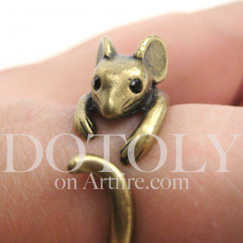 Miniature Mouse Ring in bronze - Sizes 4 to 9 Available