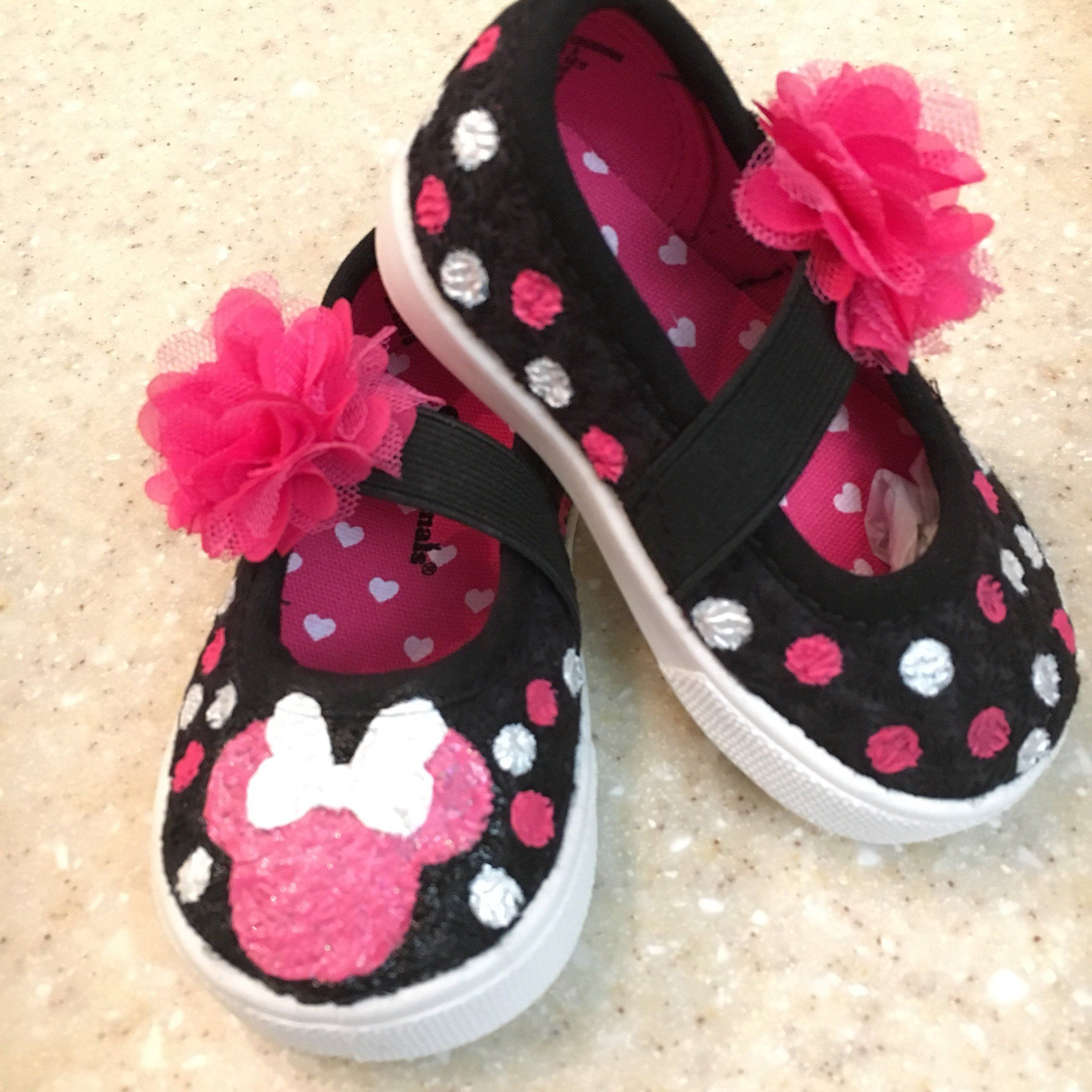 f7da322115c23 Kids, Minnie and Mickey mouse Shoes Custom Made Shoes Hand Painted ...