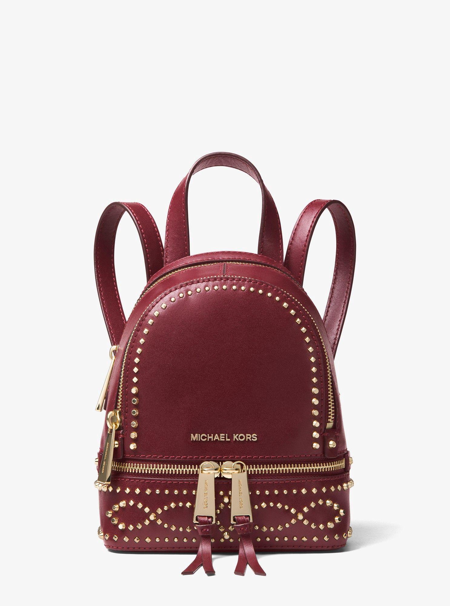 28466d23585e Michael Kors Rhea Mini Studded Leather Backpack - Oxblood in 2019 ...