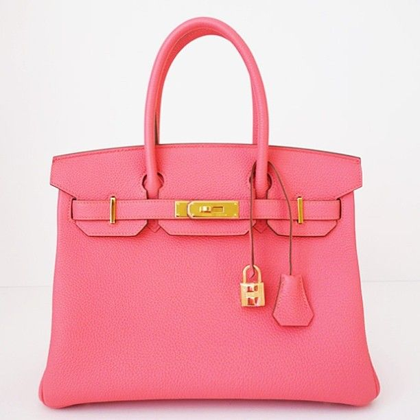 The classic: Hermes 30cm Rose Lipstick GHW Birkin – available now from Privé Porter
