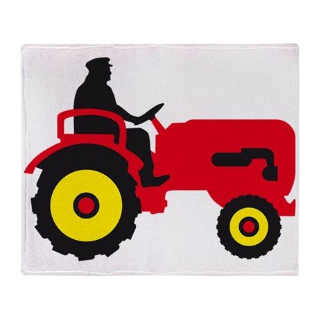 farmer with a tractor Throw Blanket on CafePress.com