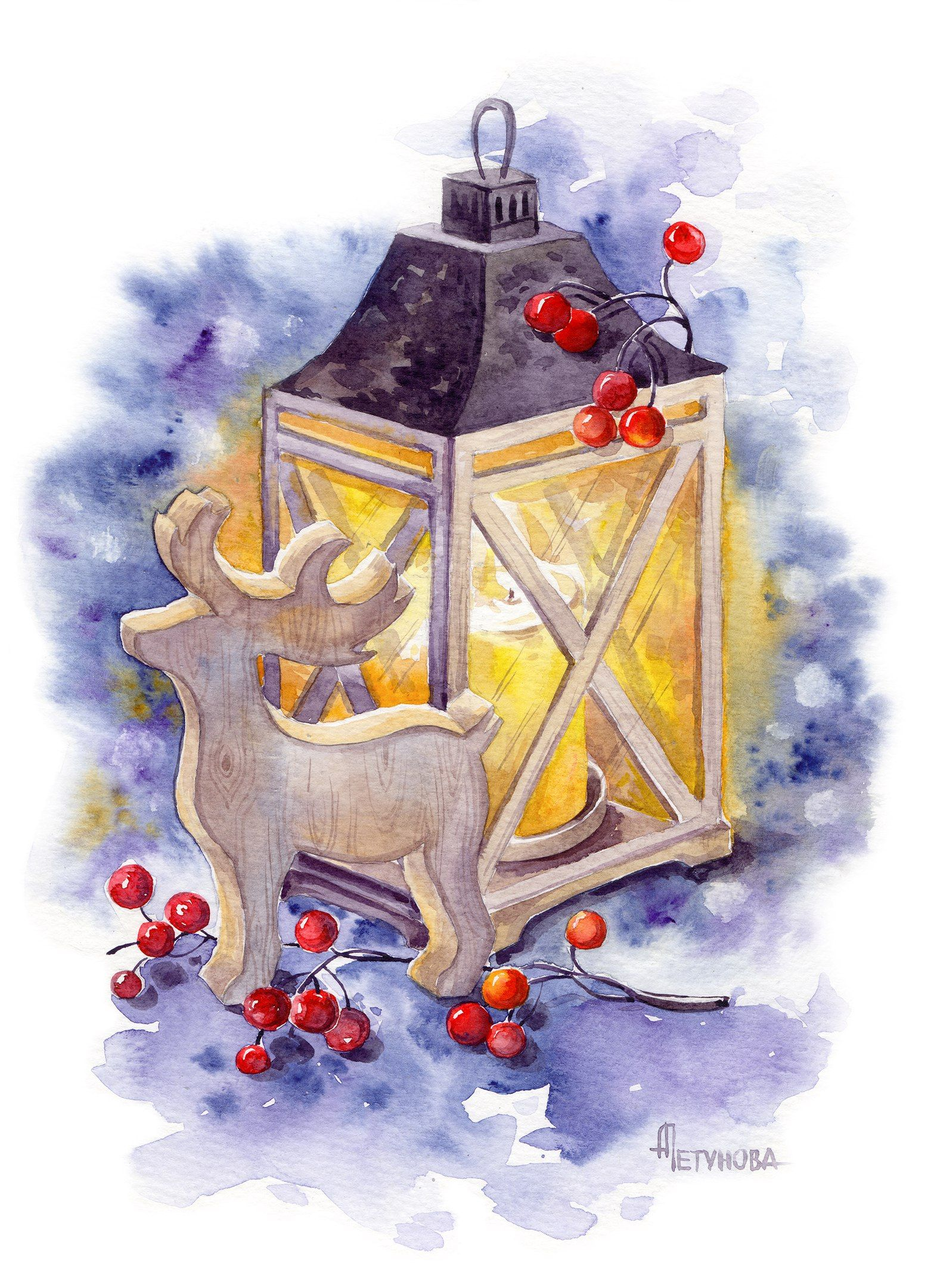 Очень красивые новогодние открытки акварель и уголь
