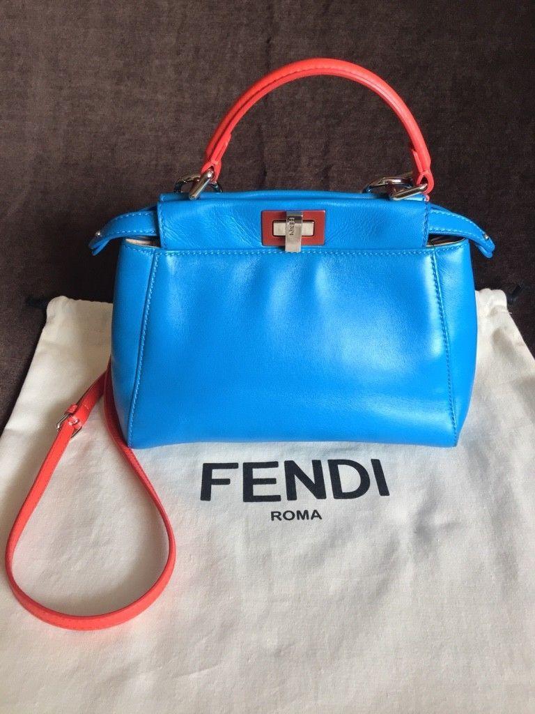7de8bee89298 FENDI MINI PEEKABOO Royal Blue 2 tones Leather Handbag