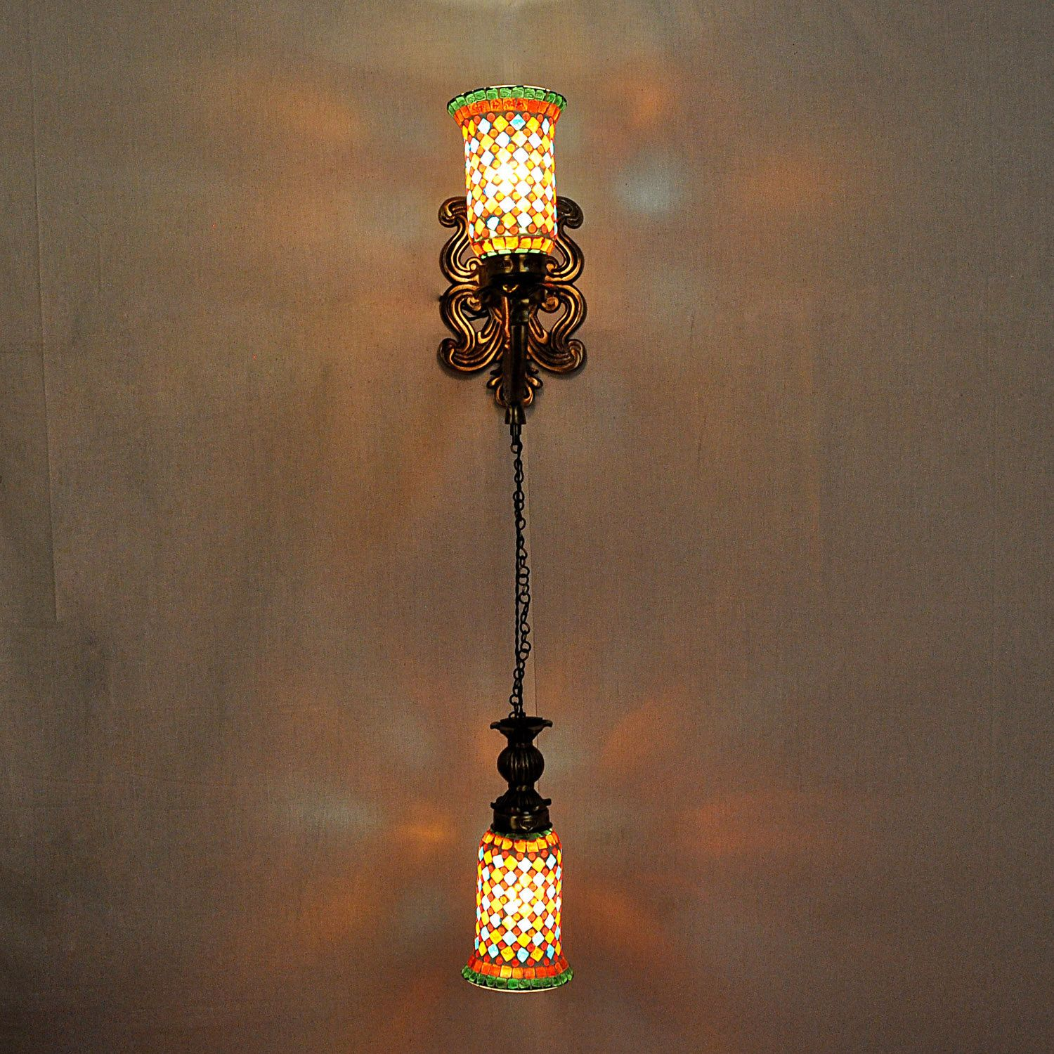 Wall sconces house wall decor mosaic glass 2 light lampshades