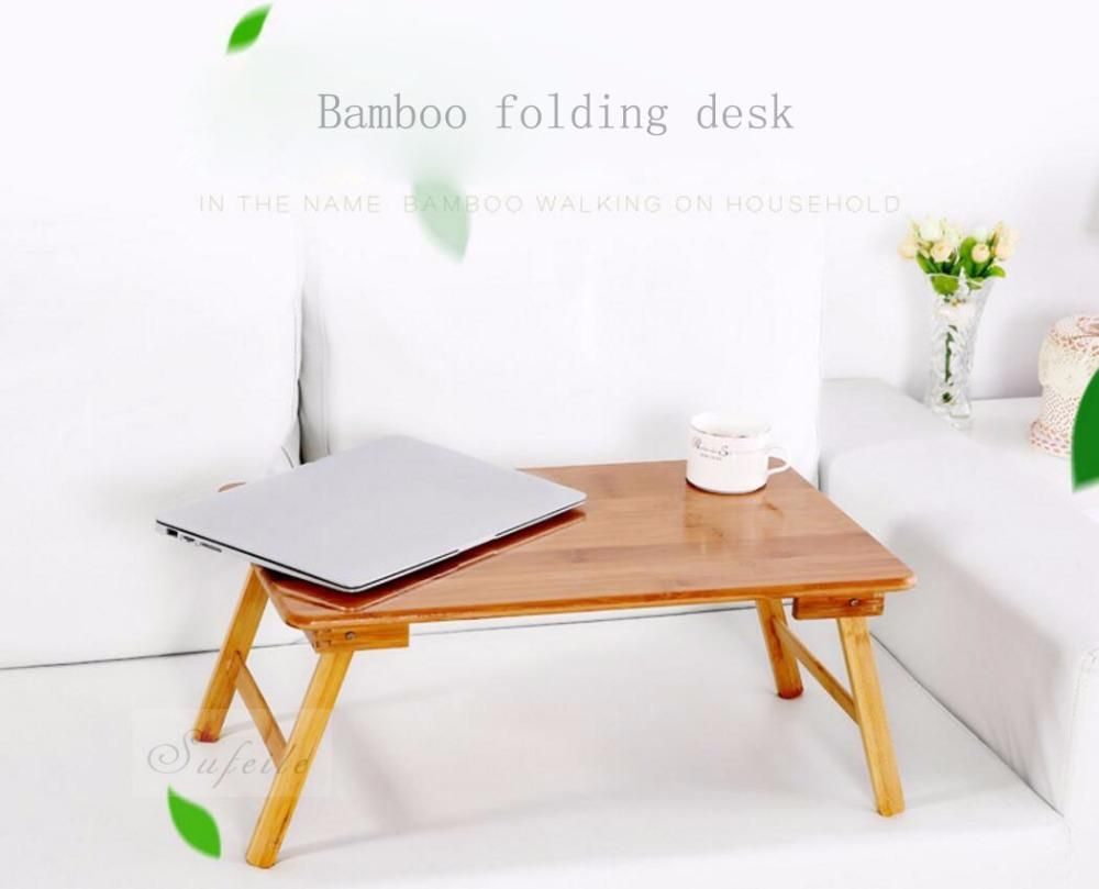 Sufeile Folding Laptop Table Sofa Bed Desk Office Stand Bamboo Portable Computer D15