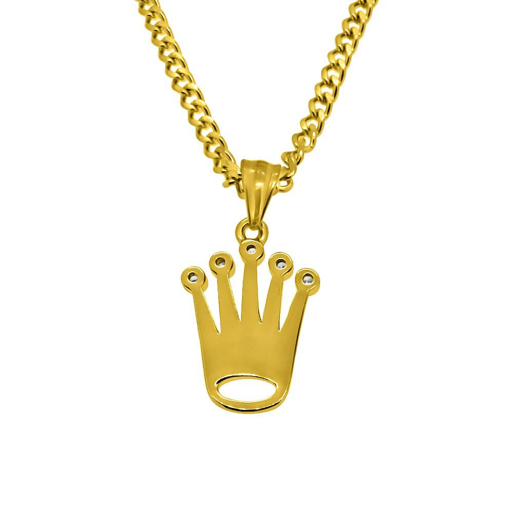Gold Micro Sized King Crown Hip Hop Pendant 3MM Cuban Chain Set