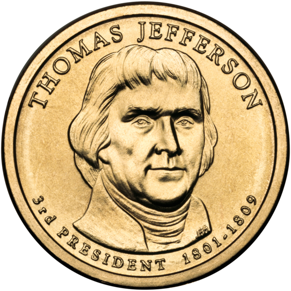 2007 D Thomas Jefferson Presidential One Dollar Coin U.S Mint Money Coins Cents