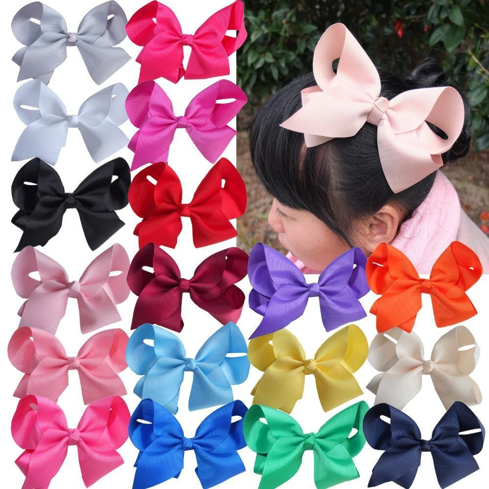 6 Inch Large Hair Bow Boutique  Baby Girls  Grosgrain Ribbon With Clips Headwear